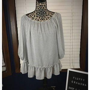 White House Black Market Striped Blouse XL